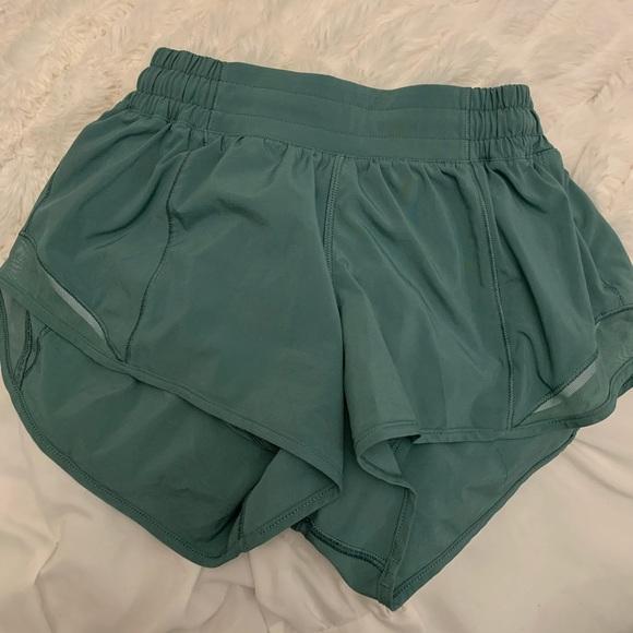sage green lululemon hotty hot shorts